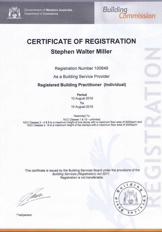Building Inspector Registered Builder